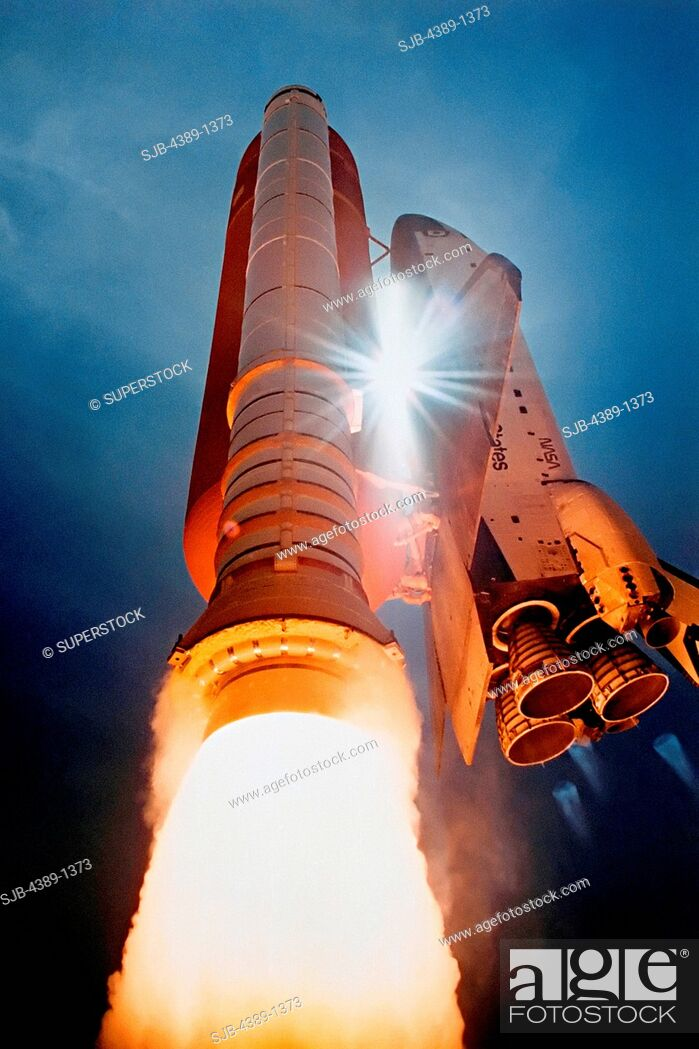 Stock Photo: Launch of Space Shuttle Atlantis on STS-43.