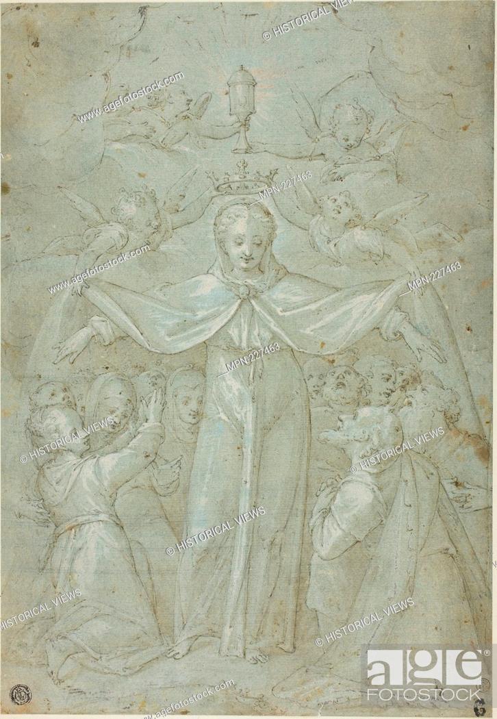 Stock Photo: Virgin of Mercy (Madonna della Misericordia) - Attributed to Filippo Bellini, or his circle Italian, c. 1550-1603 - Artist: Filippo Bellini, Origin: Italy.