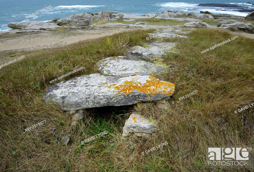 Stock Photo: Neolithic prehistoric dolmen burial chamber passage grave Allee Couverte du Gergerit. Quiberon, Brittany, France.