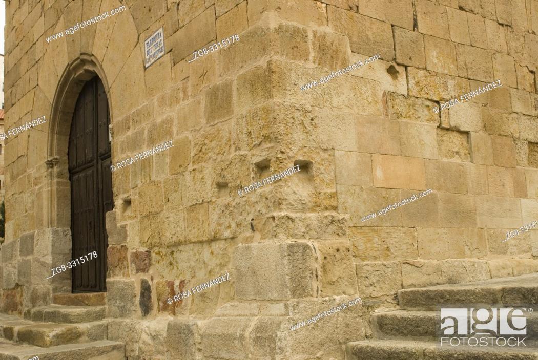 Stock Photo: Church of Santo Tomas Cantuariense, in Romanesque style, XII Century, city of Salamanca, Castilla y Leon, Spain.