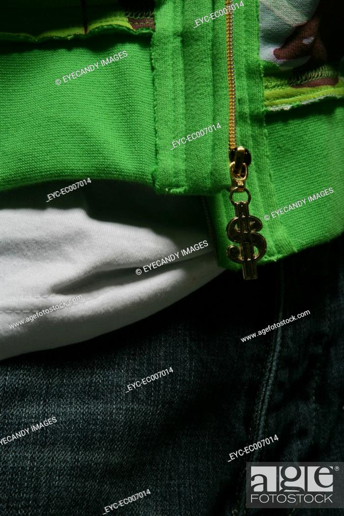 Stock Photo: Close-up of the front a person's clothes.