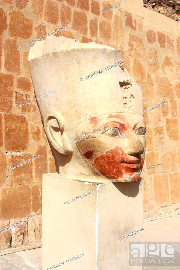 Stock Photo: Sculpture at Temple of Hatshepsut. Deir el Bahri. Thebes, Luxor. Egypt.