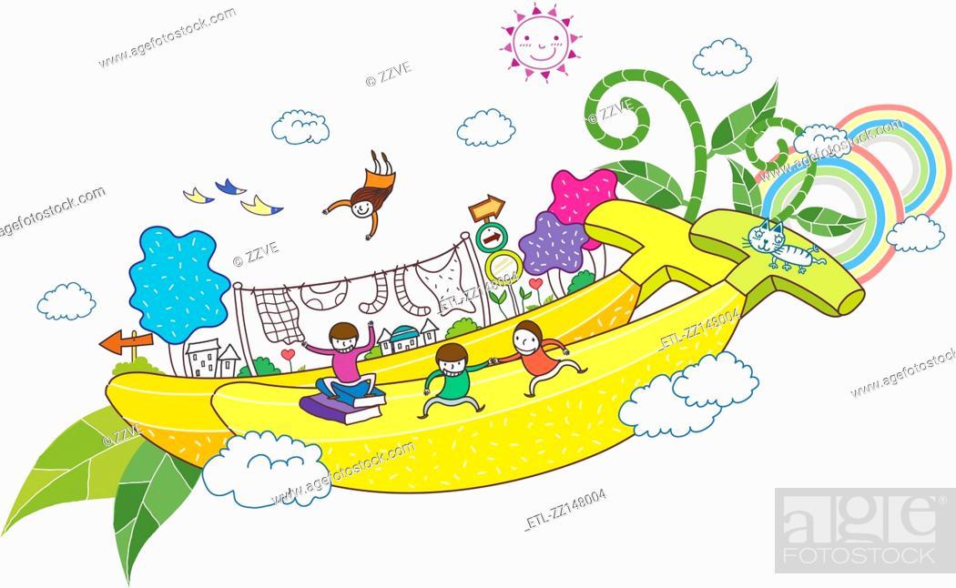 Stock Photo: banana and children.