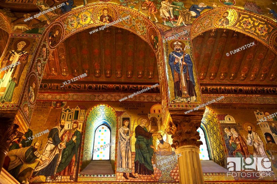 Stock Photo: Byzantine Christian Mosaics of The palatine Chapel Capella Palatina in The Norman Palace Palazzo dei Normanni, Palermo, Sicily.