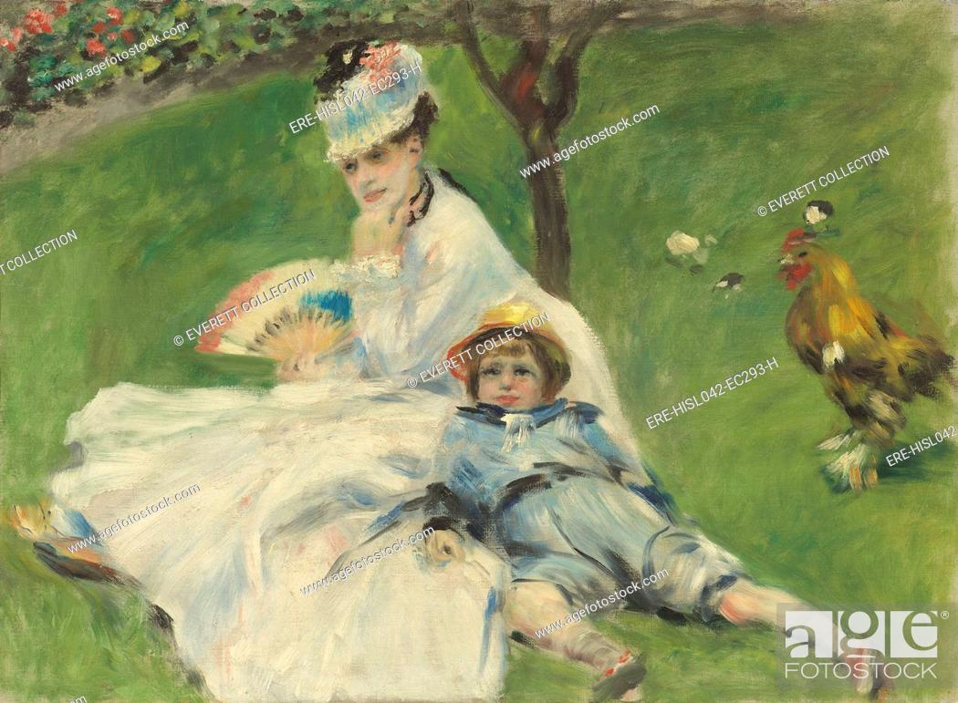 Stock Photo: Madame Monet and Her Son, by Auguste Renoir, 1874, French impressionist painting, oil on canvas. Renoir was close to Monet and sometimes they worked together.