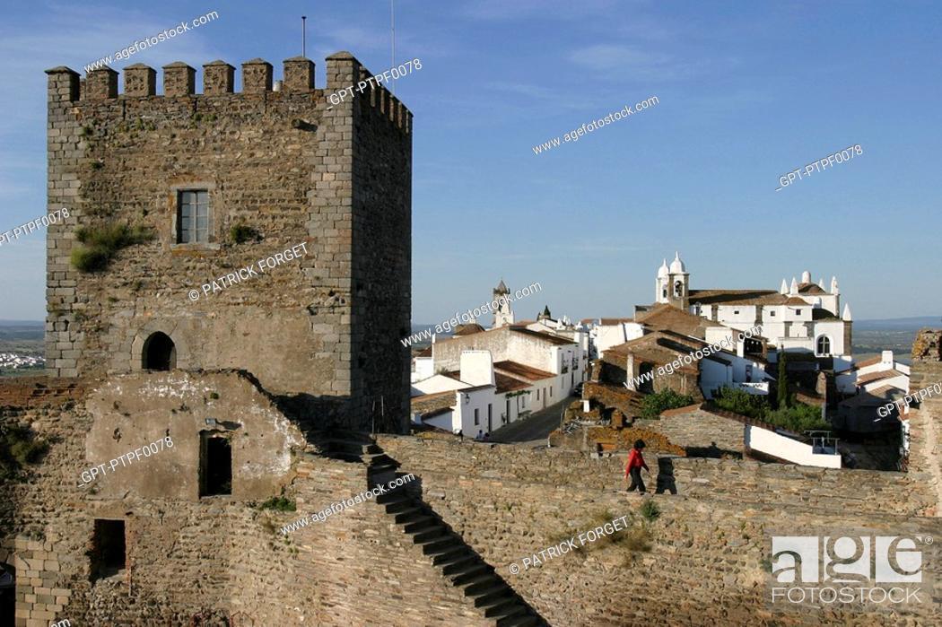 Stock Photo: TURRET DOMINATING THE FORTIFIED VILLAGE OF MONSARAZ, ALENTEJO, PORTUGAL.