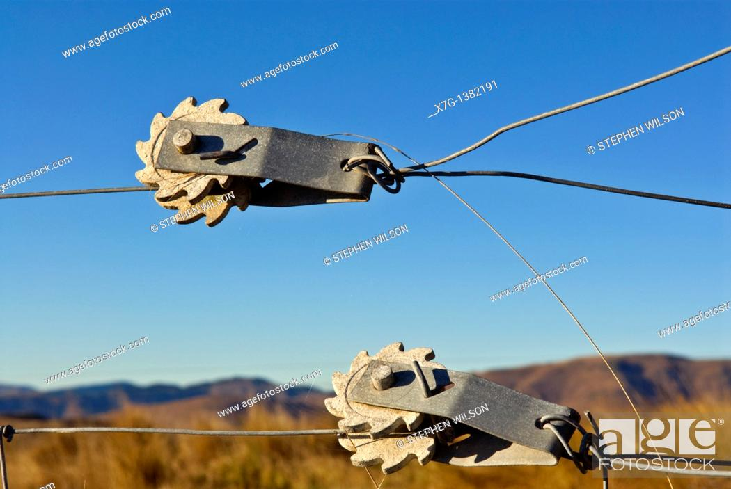 Stock Photo: Rotary fence wire tensioners.