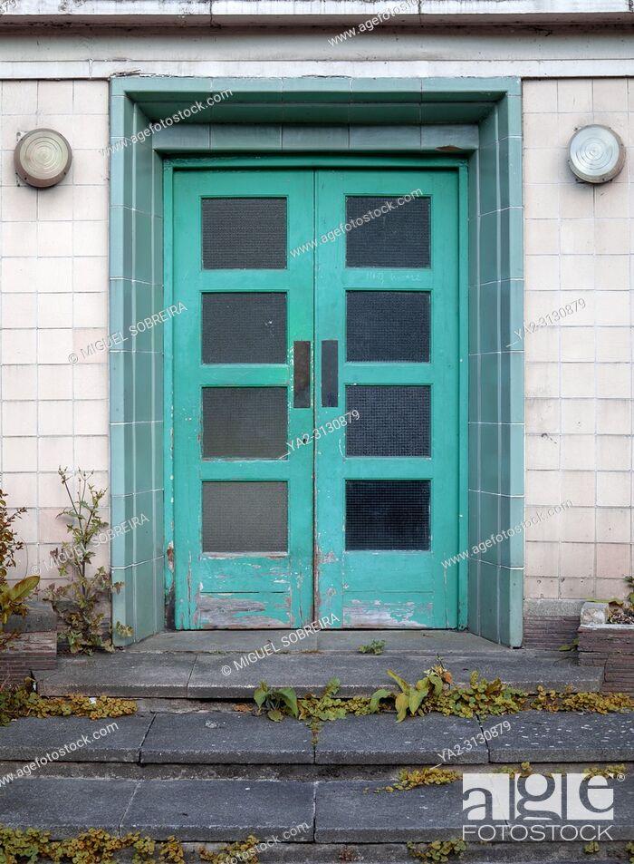 Stock Photo: Worn Cyan Deco Doorway.