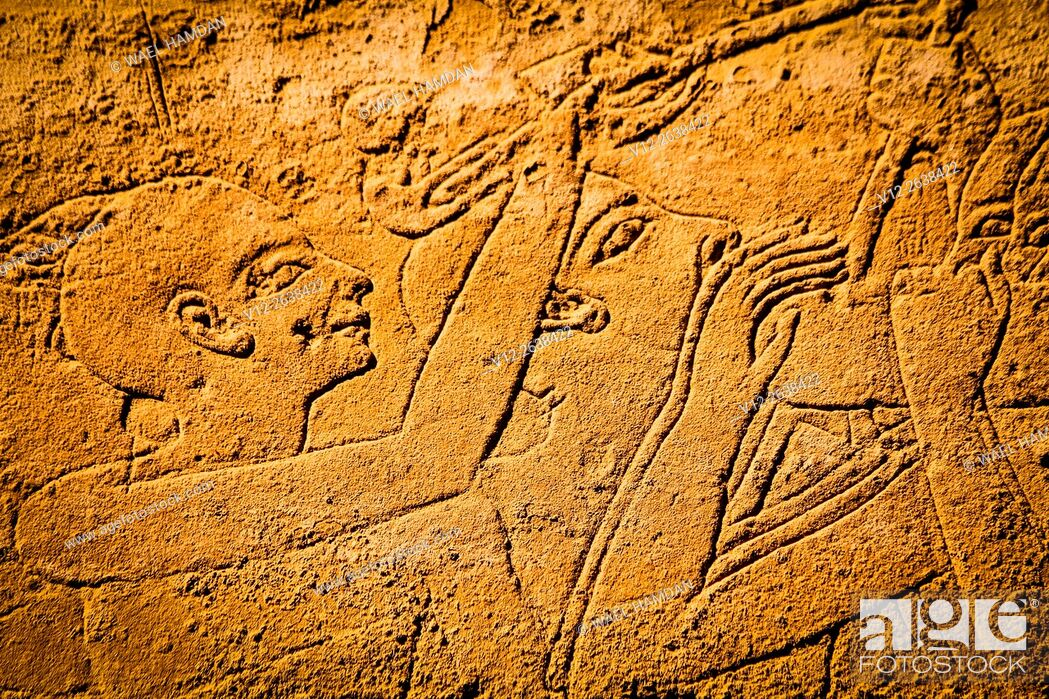 Stock Photo: Carved stone relief at Luxor temple, Egypt, Luxor.