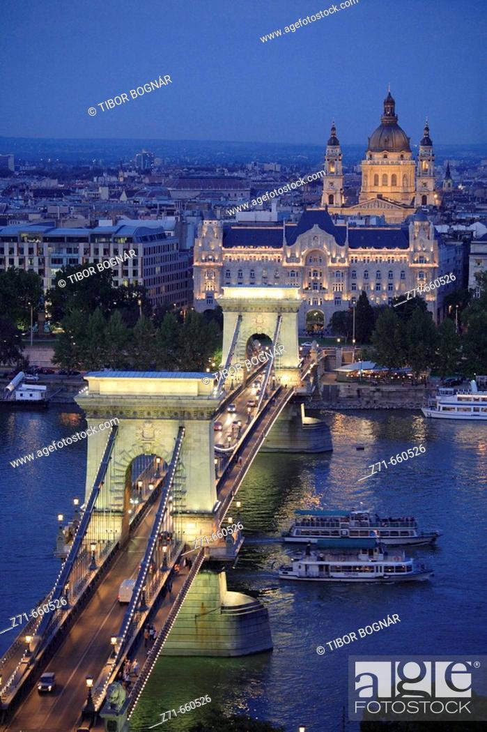Stock Photo: Chain Bridge, Gresham Palace, Basilica. Budapest. Hungary.
