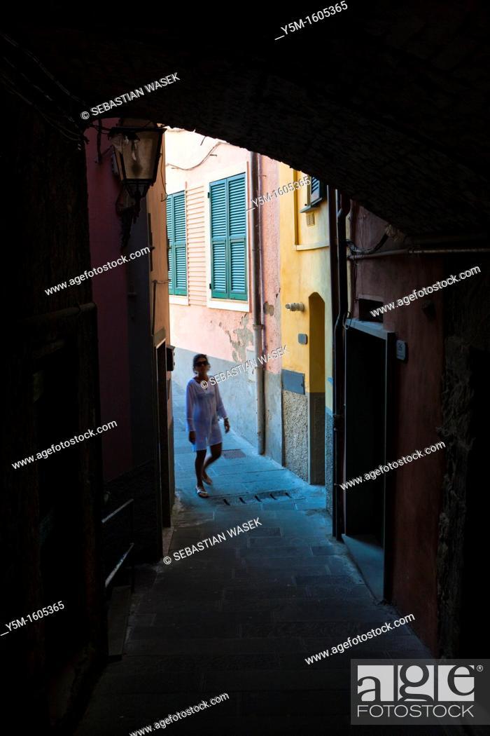 Stock Photo: Riomaggiore, Cinque Terre National Park, Province of La Spezia, Liguria, Italy, Europe.