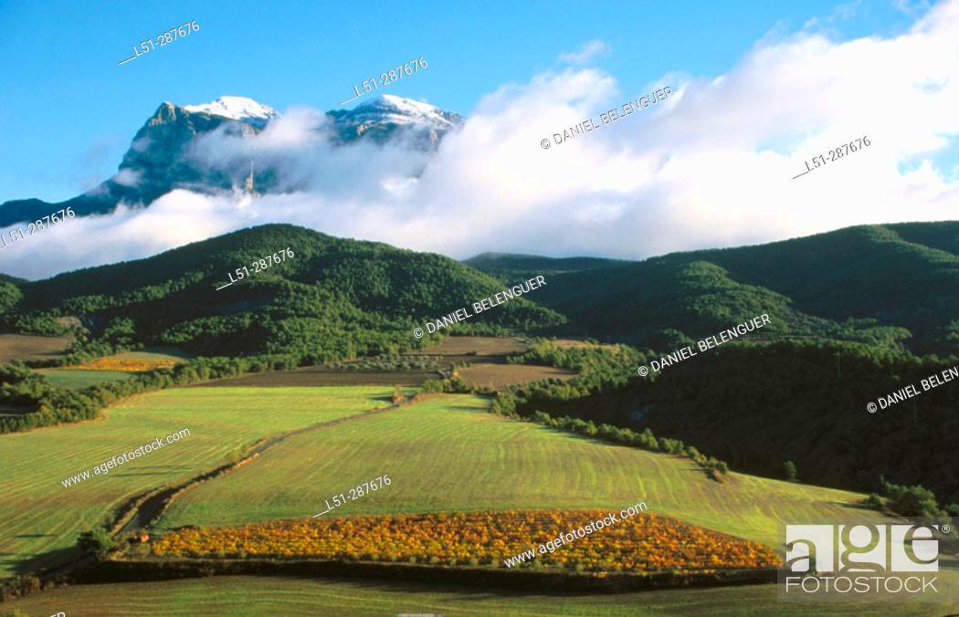 Stock Photo: Peña Montañesa, Cinca River Valley, Pyrenees Mountains. Huesca province, Spain.