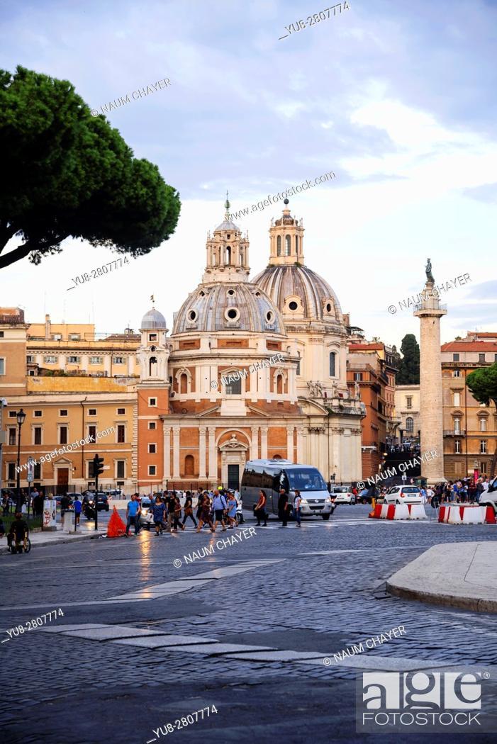 Stock Photo: Vertical view of two Baroque churches Santa Maria di Loreto and Santissimo Nome di Maria, Trajan's Column, Rome, Italy, Europe.