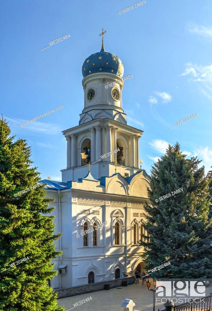 Stock Photo: Svyatogorsk, Ukraine 07. 16. 2020. Intercession Church on the territory of the Svyatogorsk Lavra in Ukraine, on a sunny summer morning.