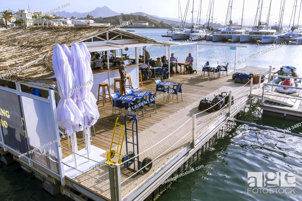 Stock Photo: Marina Mindelo Floating Bar, Sao Vicente, Cape Verde Islands, Africa.