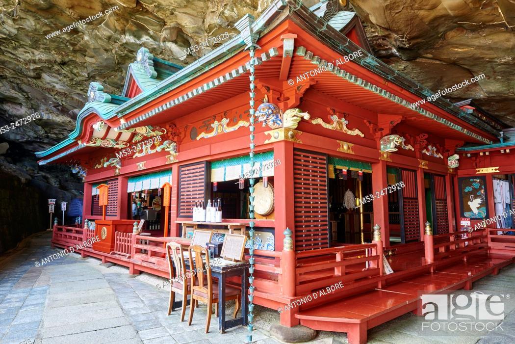 Stock Photo: The main Shrine set in the cave of Udo-Jingu shinto temple. Nichinan City. Miyazaki Prefecture. Japan.