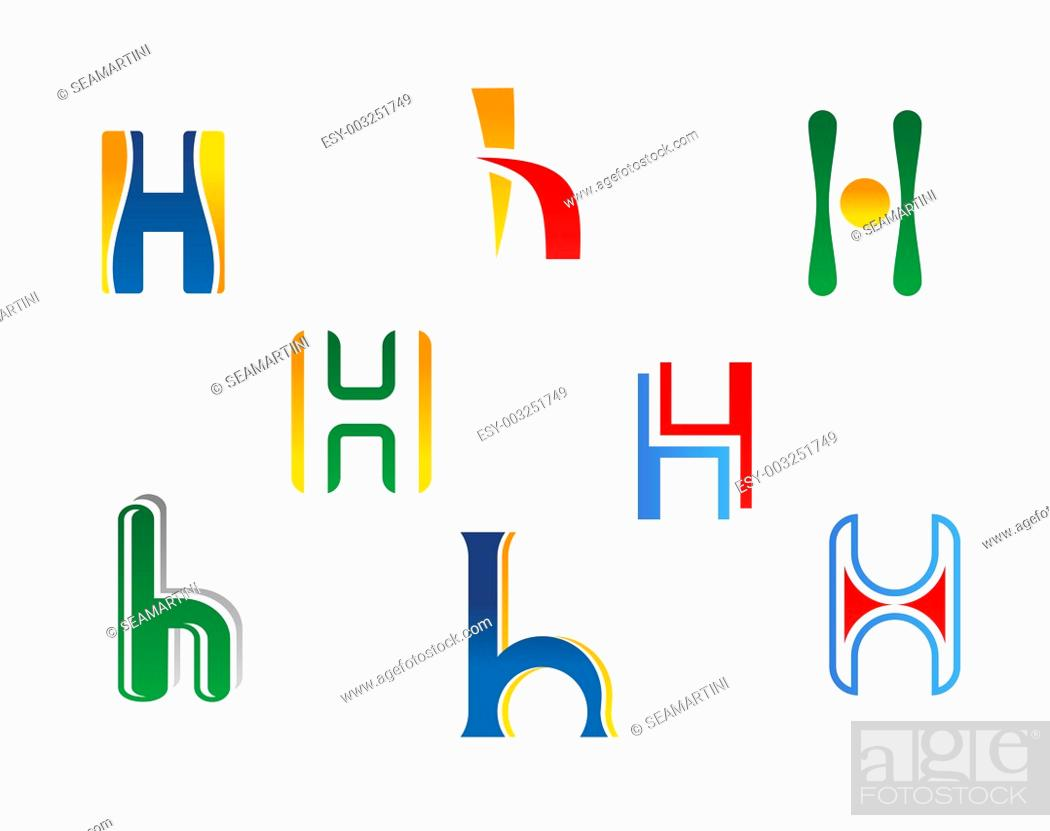 Stock Photo: Set of alphabet symbols and elements of letter H.