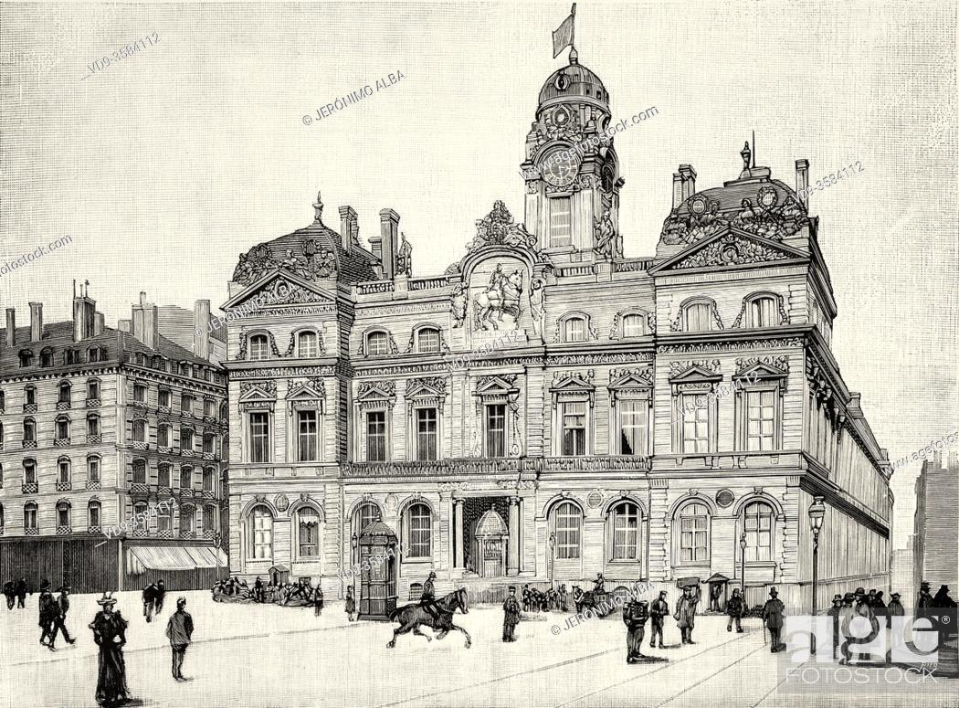 Stock Photo: City Hall of Lyon, France. Old XIX century engraved illustration from La Ilustracion Española y Americana 1894.
