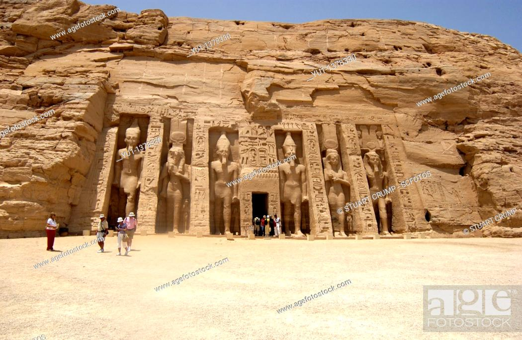 Stock Photo: Nefertari's temple of Hathor in Abu Simbel,West Bank of Lake Nasser, Southern Egypt.