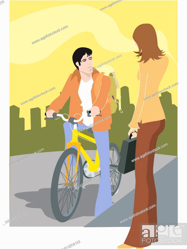 Stock Photo: A woman talking to a man on a bike.