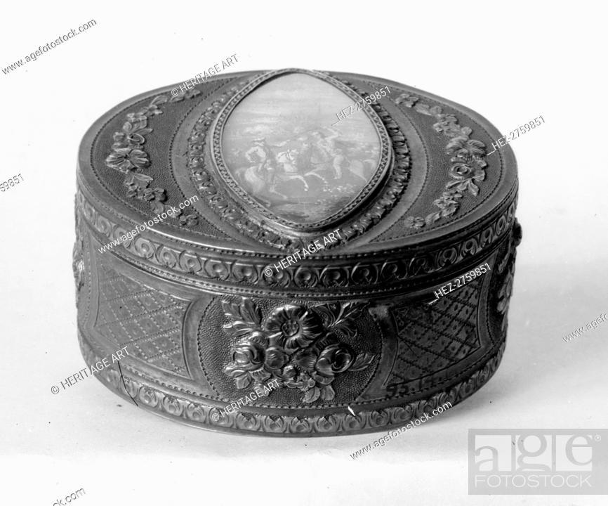 Photo de stock: Snuffbox with miniature representing battle scene, late 18th century (?). Creator: Unknown.