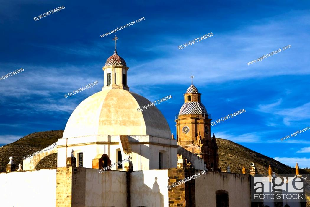 Stock Photo: Low angle view of a cathedral, Purisima Concepcion Temple, Real De Catorce, San Luis Potosi, Mexico.