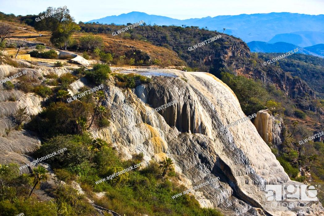 Stock Photo: High angle view of a waterfall, Hierve El Agua, Oaxaca State, Mexico.