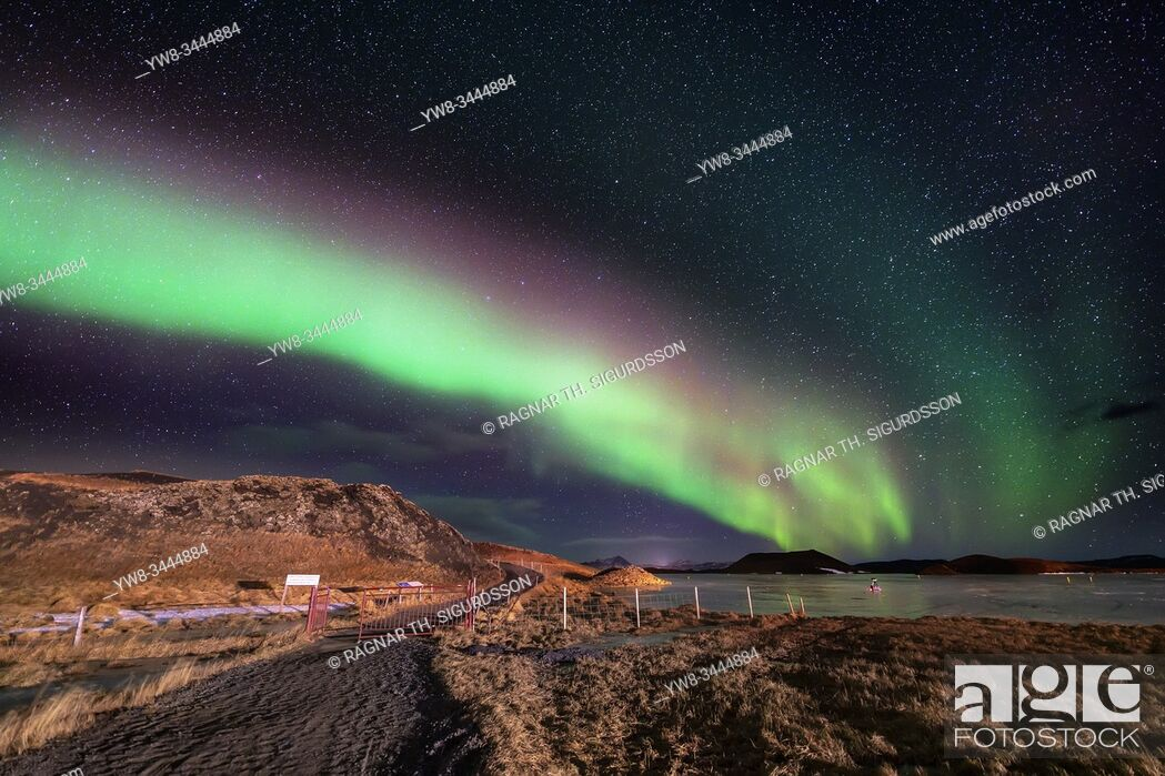 Stock Photo: Aurora Borealis, Lake Myvatn, Iceland.