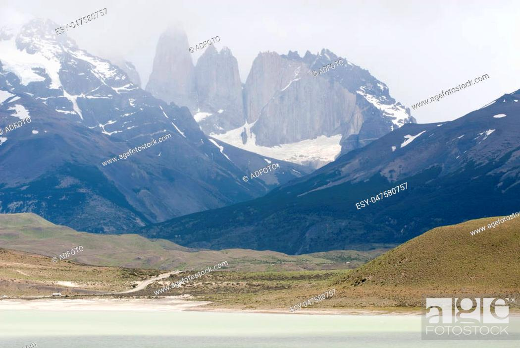 Stock Photo: South America - Patagonia - Torres del Paine National Park in a cloudy day - Beautiful natural landscape - Travel Destination - Landmark.