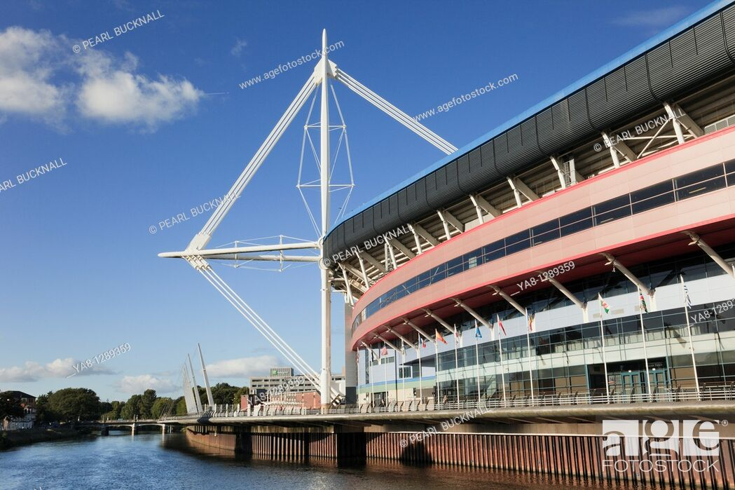Stock Photo: Cardiff Caerdydd, South Glamorgan, South Wales, UK, Europe  Millennium stadium football and rugby venue beside River Taff.