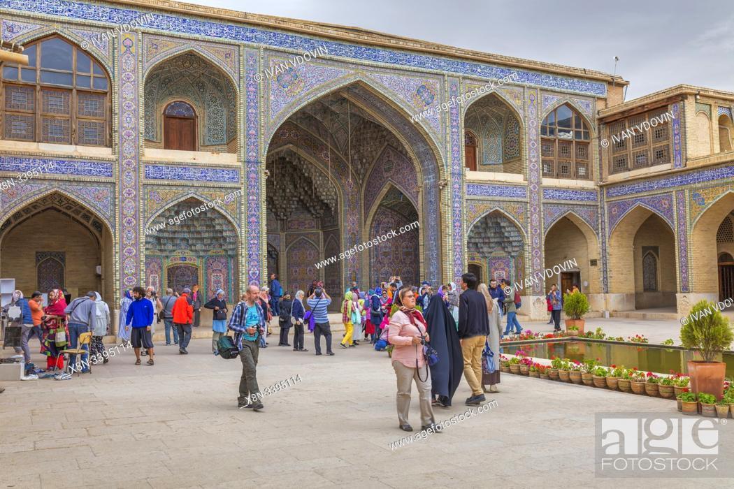 Stock Photo: Nasir al-Mulk Mosque, Pink Mosque, 1888, Shiraz, Fars Province, Iran.