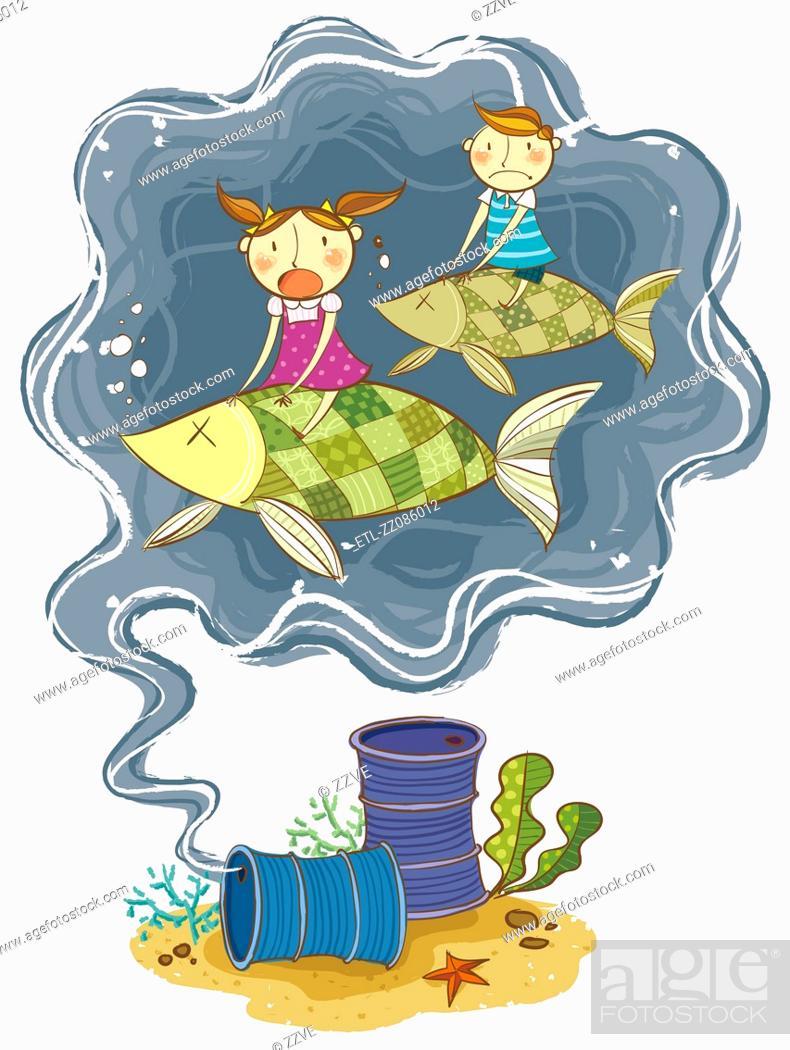 Stock Photo: Oil barrel in ocean polluting the water.