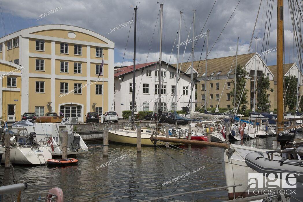 Stock Photo: Boats on Canal; Christianshavn; Copenhagen; Denmark.