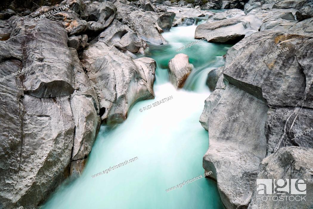 Stock Photo: Verzasca River in the Swiss Alps, Ticino, Switzerland, Europe.