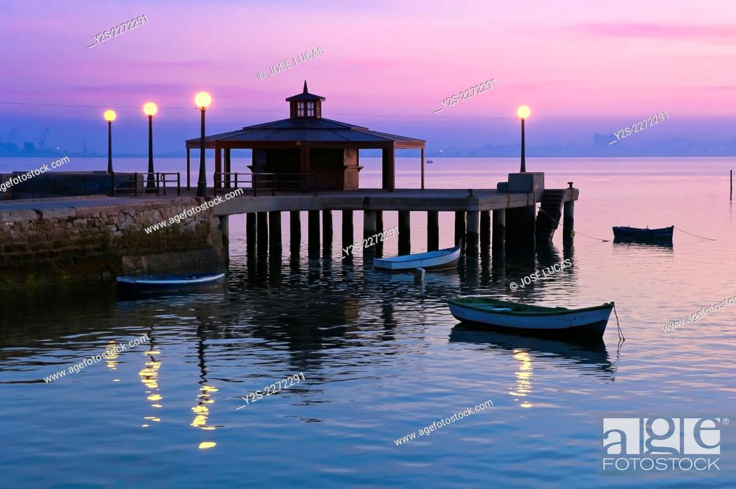 Stock Photo: Pier at dusk, Puerto Real, Cadiz province, Region of Andalusia, Spain, Europe.