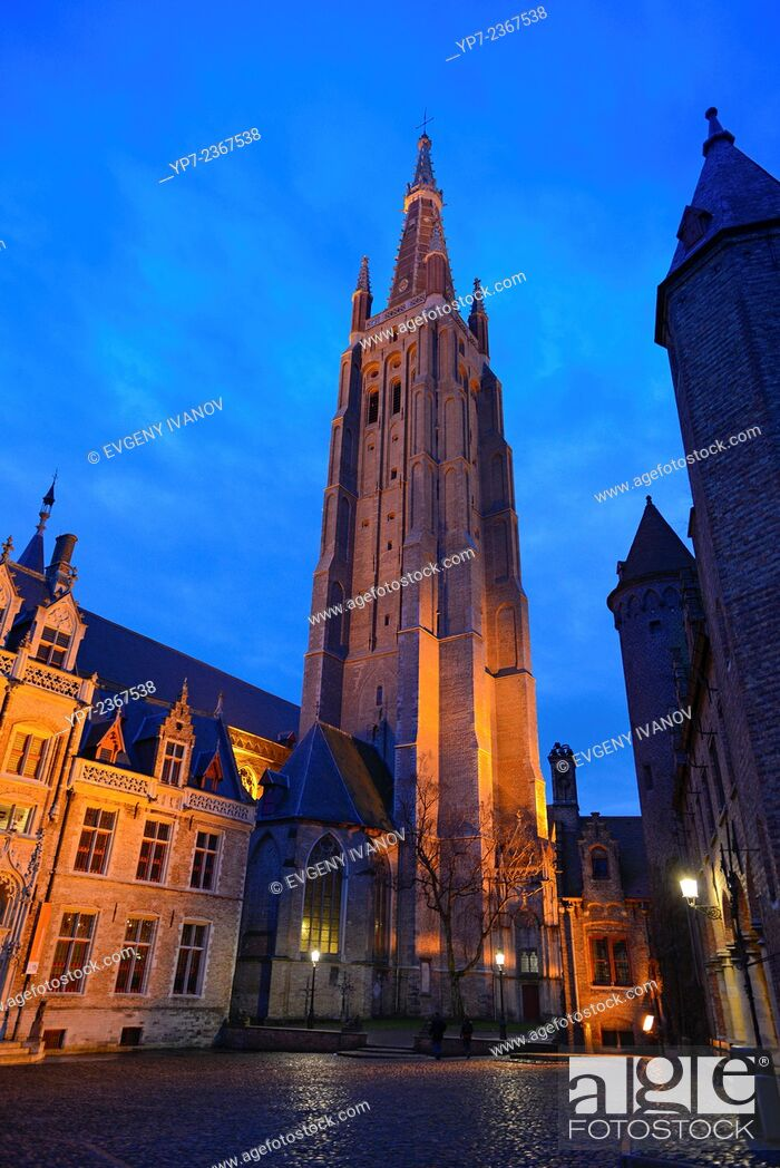 Stock Photo: Church of Our Lady At Night, Brugge.