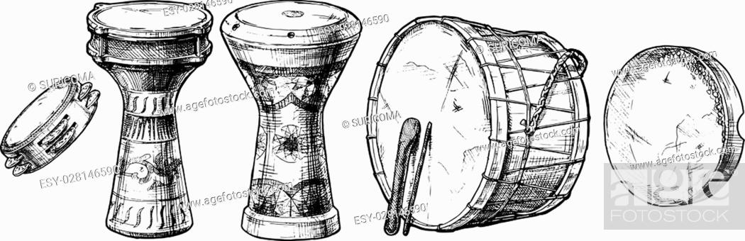 Vector hand drawn set of Middle Eastern Percussion