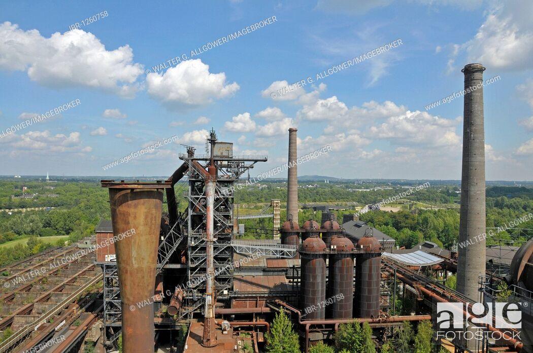 Stock Photo: Blast furnace in the Landschaftspark Duisburg-Nord landscape park, a former Thyssen blast furnace plant in Meiderich, Duisburg, North Rhine-Westphalia, Germany.