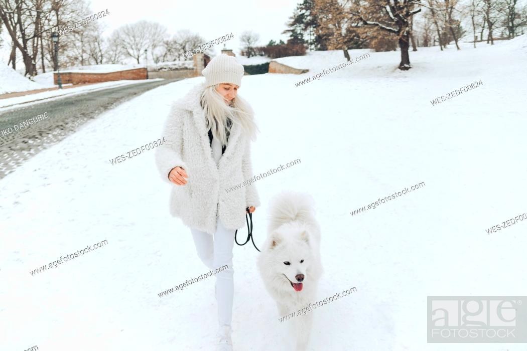 Stock Photo: Young woman going walkies with her dog in the snow.