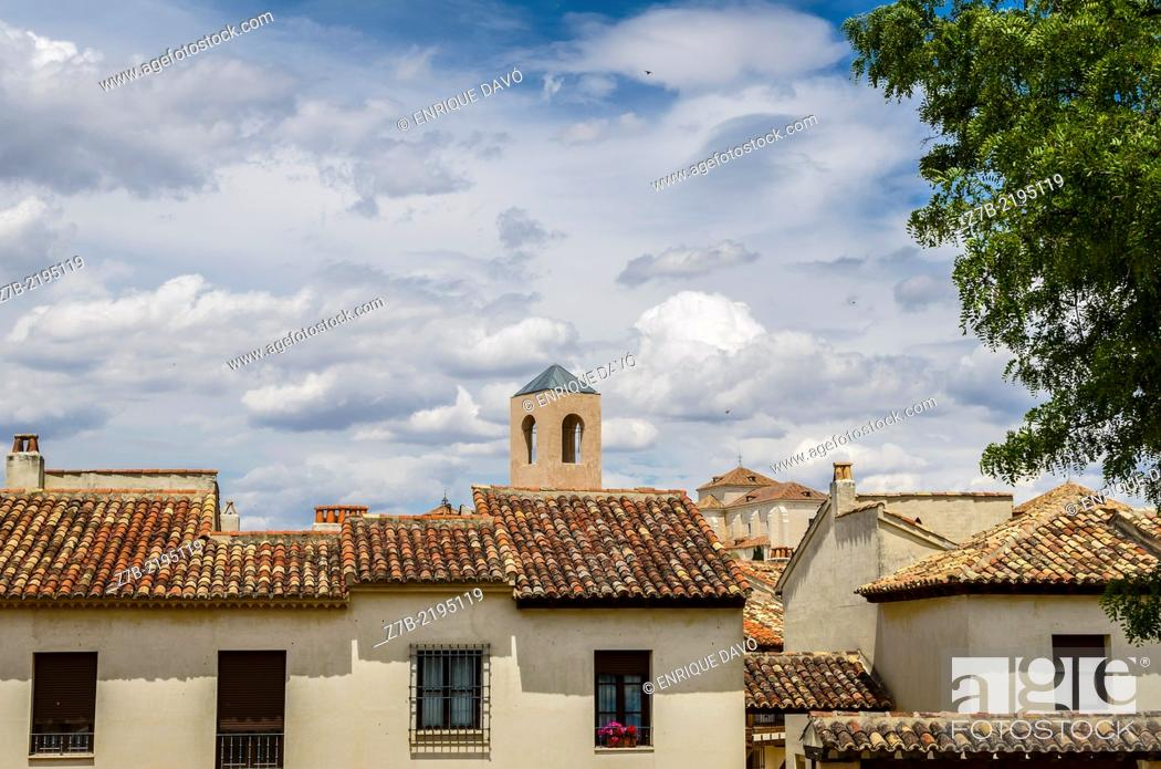 Stock Photo: View of a houses in the Chinchon village, Madrid province, Spain.