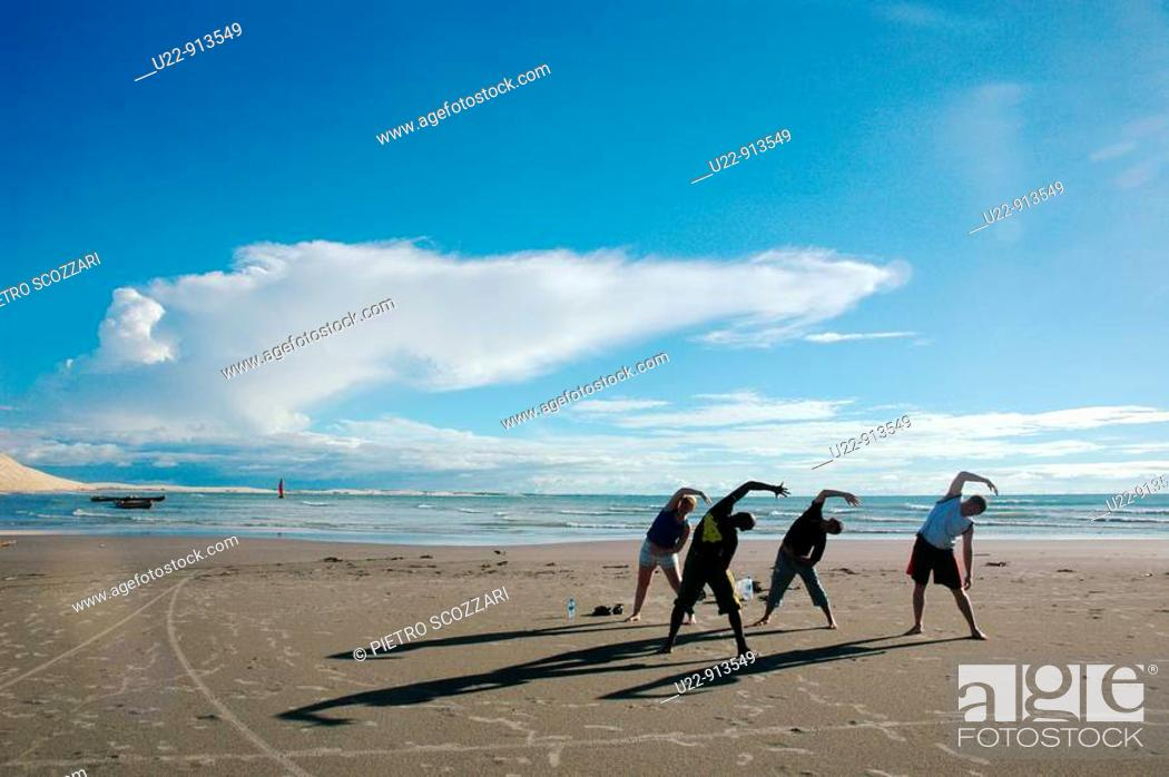 Stock Photo: Jericoacoara (Ceara, Brazil): tourists exercising the major dune.