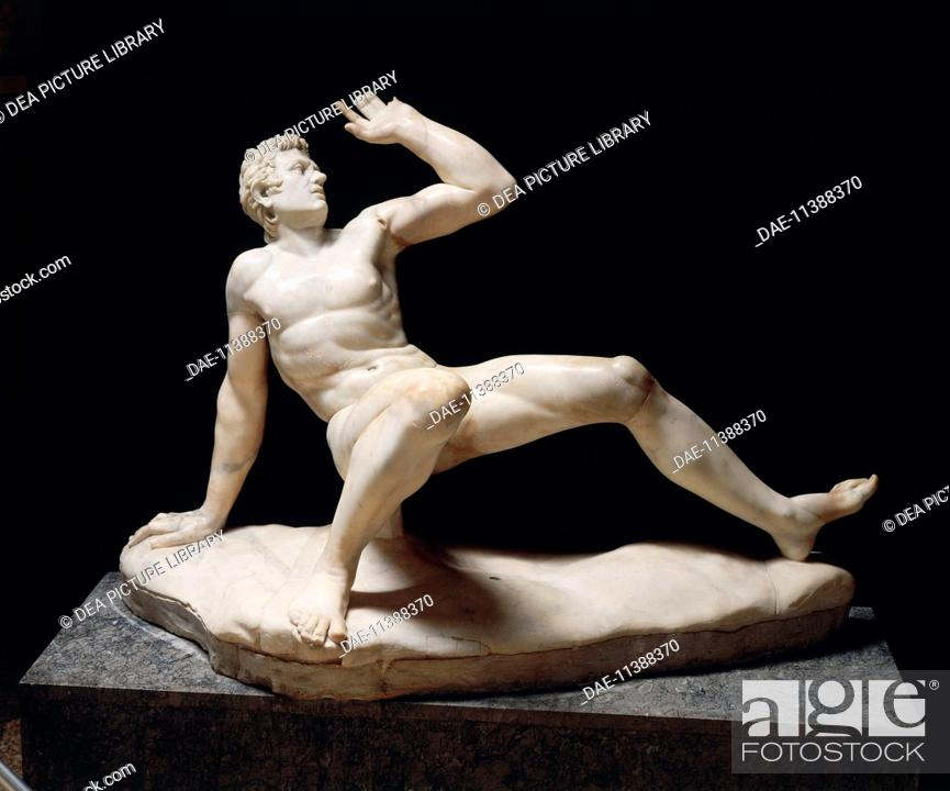 Stock Photo: Greek civilization, 3rd century b.C. Marble statue of falling Gaul. Roman copy of a Pergamon school original, part of the Stoa built by Attalus II on the.