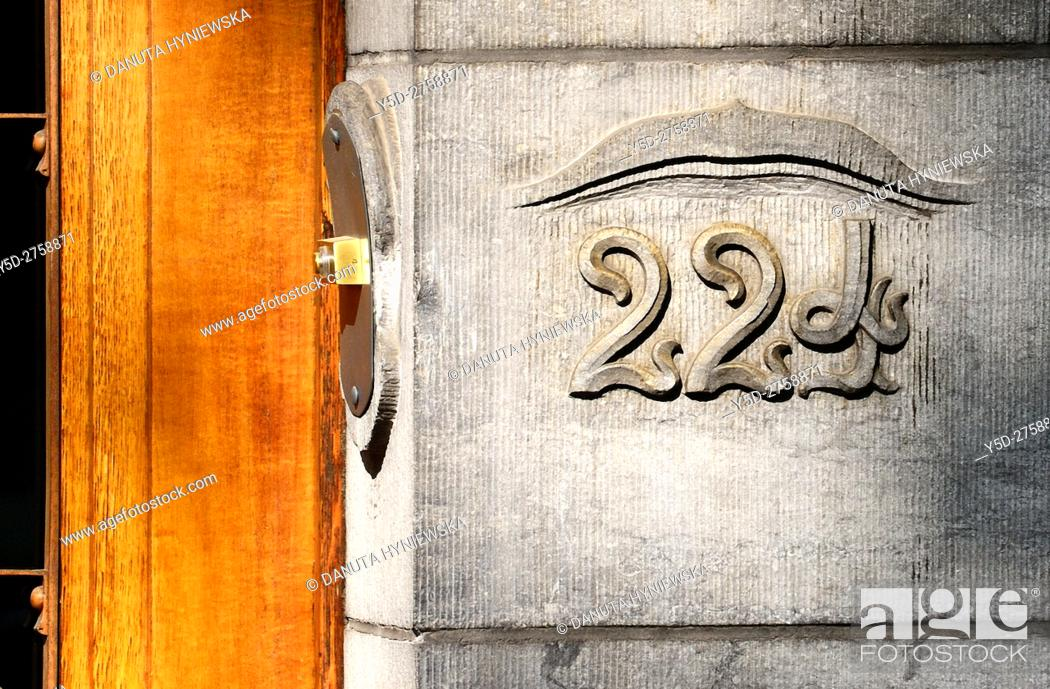 Stock Photo: Close-up of entrance to building located at 224 Avenue Louise in Brussels, part of front facade - Art Nouveau Hotel Solvay - house designed by Victor Horta.