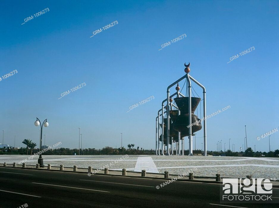 Stock Photo: Lanterns at a roundabout in Jeddah, Saudi Arabia.