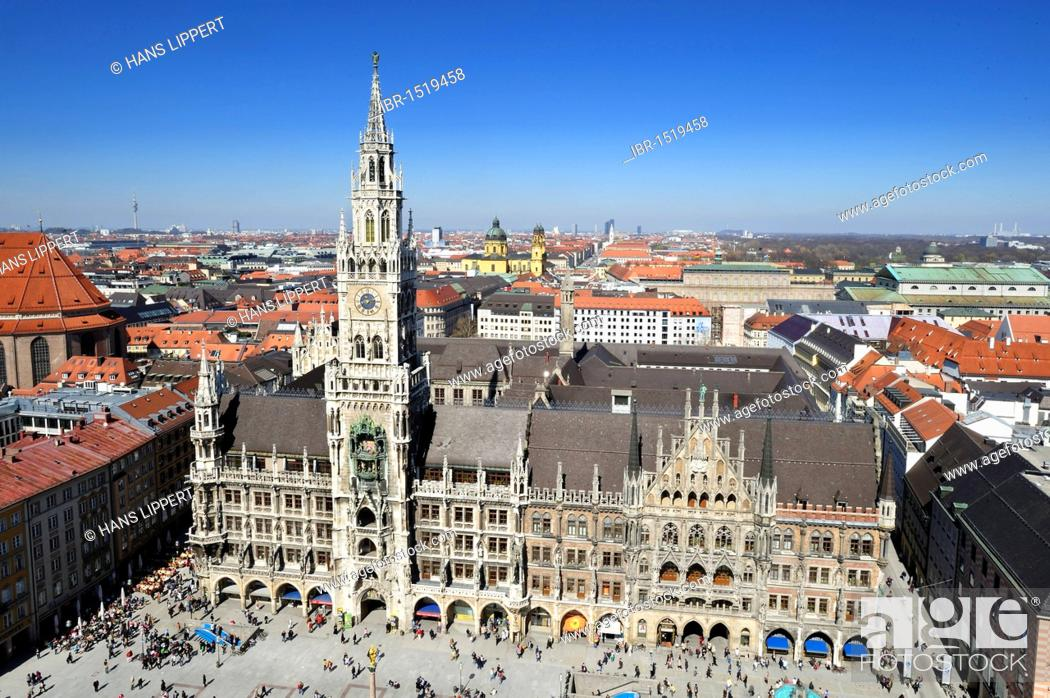 Stock Photo: View from the St. Peter church on the town hall in Marienplatz square, Munich, Bavaria, Germany, Europe.