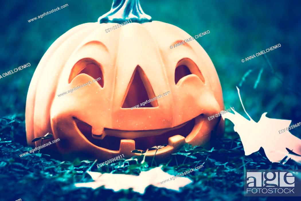 Stock Photo: Closeup photo of a carved pumpkin with happy face in the dark forest at Halloween night, traditional autumn holiday, vintage.