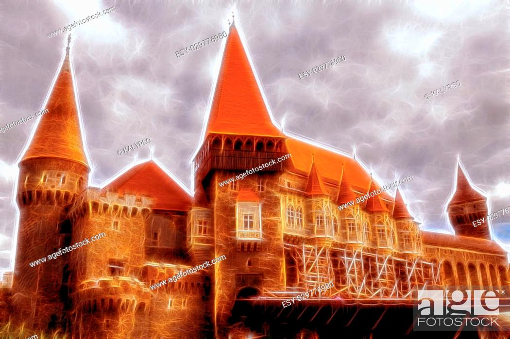 Stock Photo: Corvin Castle, A Spectacular Medieval Castle In Hunedoara, Romania, Illustration.