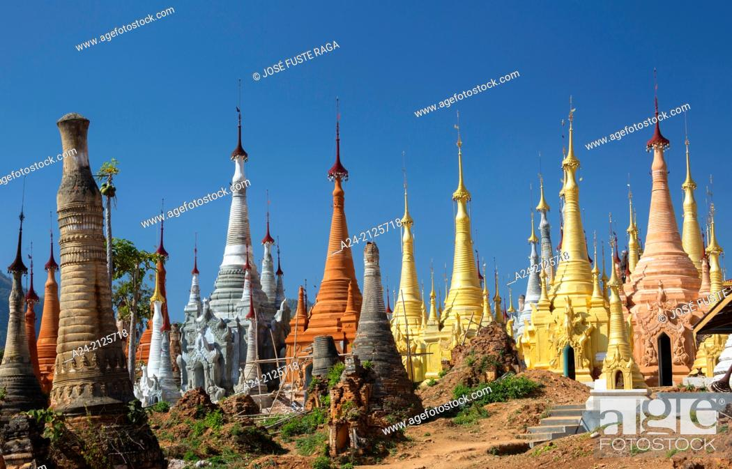 Stock Photo: Myanmar , , Indeinn , Stupas'hill above Inle Lake.