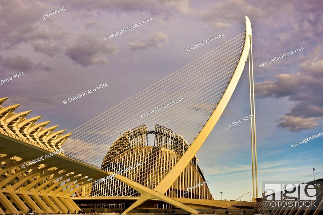 Stock Photo: Agora and Assut d'or bridge, Ciudad de las Artes y las Ciencias, Valencia, Comunidad Valenciana, Spain.