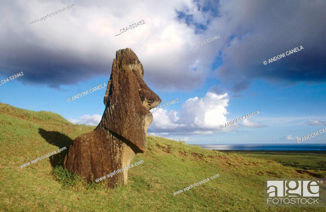 Stock Photo: Moai quarry. rano raraku. Easter Island. Chile.